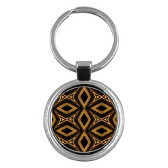 Tribal Diamonds Pattern Brown Colors Abstract Design Key Chain (round)