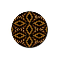 Tribal Diamonds Pattern Brown Colors Abstract Design Drink Coasters 4 Pack (Round)