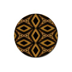 Tribal Diamonds Pattern Brown Colors Abstract Design Magnet 3  (round)