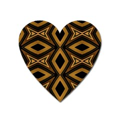 Tribal Diamonds Pattern Brown Colors Abstract Design Magnet (Heart)