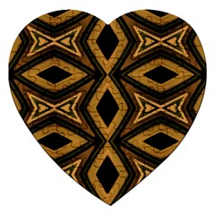 Tribal Diamonds Pattern Brown Colors Abstract Design Jigsaw Puzzle (Heart)