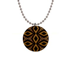 Tribal Diamonds Pattern Brown Colors Abstract Design Button Necklace