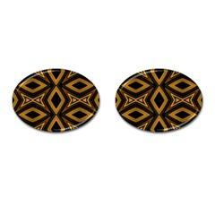 Tribal Diamonds Pattern Brown Colors Abstract Design Cufflinks (Oval)