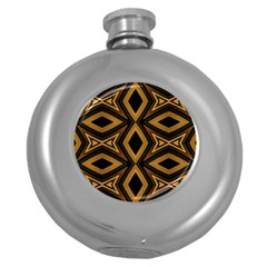 Tribal Diamonds Pattern Brown Colors Abstract Design Hip Flask (Round)