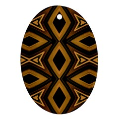 Tribal Diamonds Pattern Brown Colors Abstract Design Oval Ornament (two Sides)