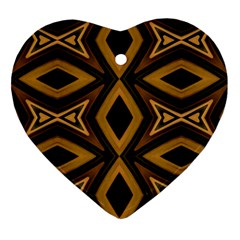 Tribal Diamonds Pattern Brown Colors Abstract Design Heart Ornament (two Sides)