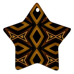 Tribal Diamonds Pattern Brown Colors Abstract Design Star Ornament (two Sides)