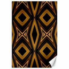 Tribal Diamonds Pattern Brown Colors Abstract Design Canvas 12  X 18  (unframed)