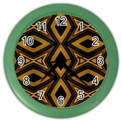 Tribal Diamonds Pattern Brown Colors Abstract Design Wall Clock (Color)