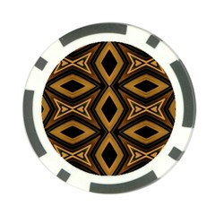 Tribal Diamonds Pattern Brown Colors Abstract Design Poker Chip (10 Pack)