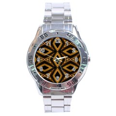 Tribal Diamonds Pattern Brown Colors Abstract Design Stainless Steel Watch