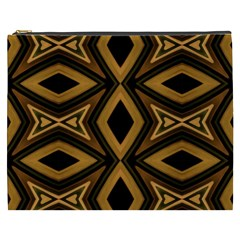 Tribal Diamonds Pattern Brown Colors Abstract Design Cosmetic Bag (xxxl)