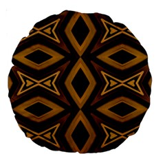 Tribal Diamonds Pattern Brown Colors Abstract Design 18  Premium Round Cushion