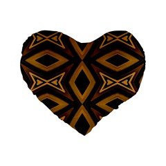 Tribal Diamonds Pattern Brown Colors Abstract Design 16  Premium Heart Shape Cushion