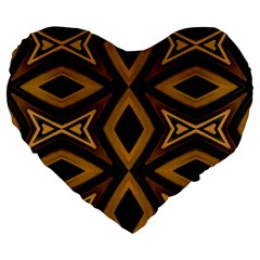 Tribal Diamonds Pattern Brown Colors Abstract Design 19  Premium Heart Shape Cushion