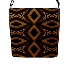 Tribal Diamonds Pattern Brown Colors Abstract Design Flap Closure Messenger Bag (large)