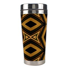 Tribal Diamonds Pattern Brown Colors Abstract Design Stainless Steel Travel Tumbler