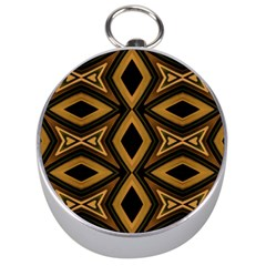 Tribal Diamonds Pattern Brown Colors Abstract Design Silver Compass