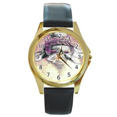 Tentacles Of Pain Round Leather Watch (gold Rim)