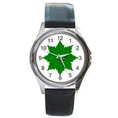 Decorative Ornament Isolated Plants Round Leather Watch (silver Rim)