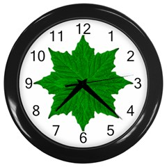 Decorative Ornament Isolated Plants Wall Clock (black)