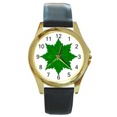 Decorative Ornament Isolated Plants Round Leather Watch (gold Rim)
