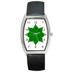Decorative Ornament Isolated Plants Tonneau Leather Watch