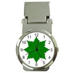 Decorative Ornament Isolated Plants Money Clip with Watch Front