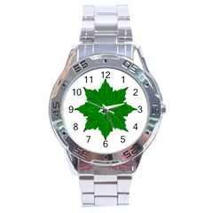 Decorative Ornament Isolated Plants Stainless Steel Watch