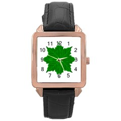 Decorative Ornament Isolated Plants Rose Gold Leather Watch