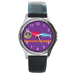 Peace Love & Zeppelin Round Leather Watch (silver Rim)