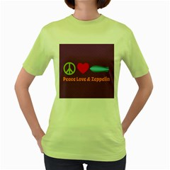 Peace Love & Zeppelin Women s T-shirt (Green)