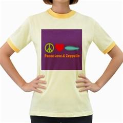 Peace Love & Zeppelin Women s Ringer T-shirt (Colored)