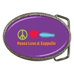 Peace Love & Zeppelin Belt Buckle (oval)