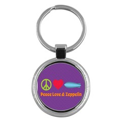 Peace Love & Zeppelin Key Chain (round)