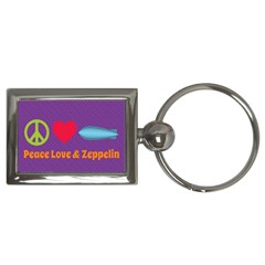 Peace Love & Zeppelin Key Chain (rectangle)