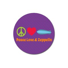 Peace Love & Zeppelin Magnet 3  (round)