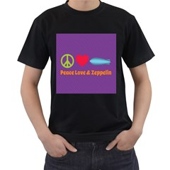 Peace Love & Zeppelin Men s Two Sided T-shirt (Black)
