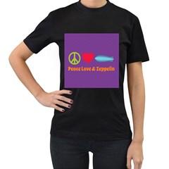 Peace Love & Zeppelin Women s Two Sided T-shirt (Black)