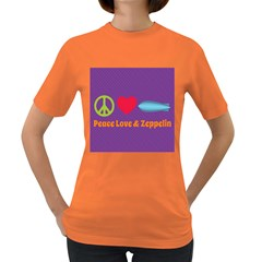 Peace Love & Zeppelin Women s T Shirt (colored)