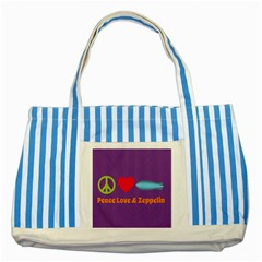 Peace Love & Zeppelin Blue Striped Tote Bag