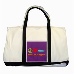 Peace Love & Zeppelin Two Toned Tote Bag