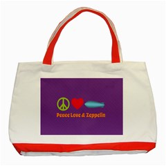 Peace Love & Zeppelin Classic Tote Bag (Red)