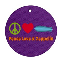Peace Love & Zeppelin Round Ornament (two Sides)