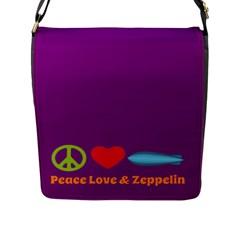 Peace Love & Zeppelin Flap Closure Messenger Bag (Large)