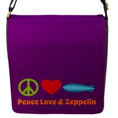 Peace Love & Zeppelin Flap Closure Messenger Bag (small)