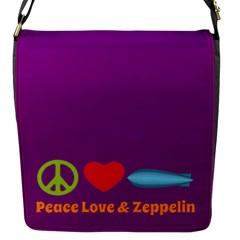 Peace Love & Zeppelin Flap Closure Messenger Bag (Small)