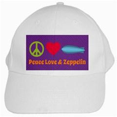 Peace Love & Zeppelin White Baseball Cap