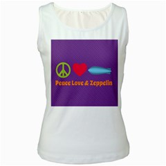 Peace Love & Zeppelin Women s Tank Top (White)