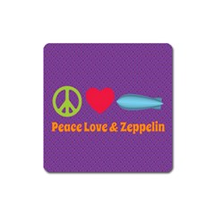Peace Love & Zeppelin Magnet (Square)